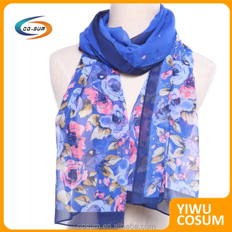 New Fashion Mixed Color Floral Pattern Turkish Silk Scarves