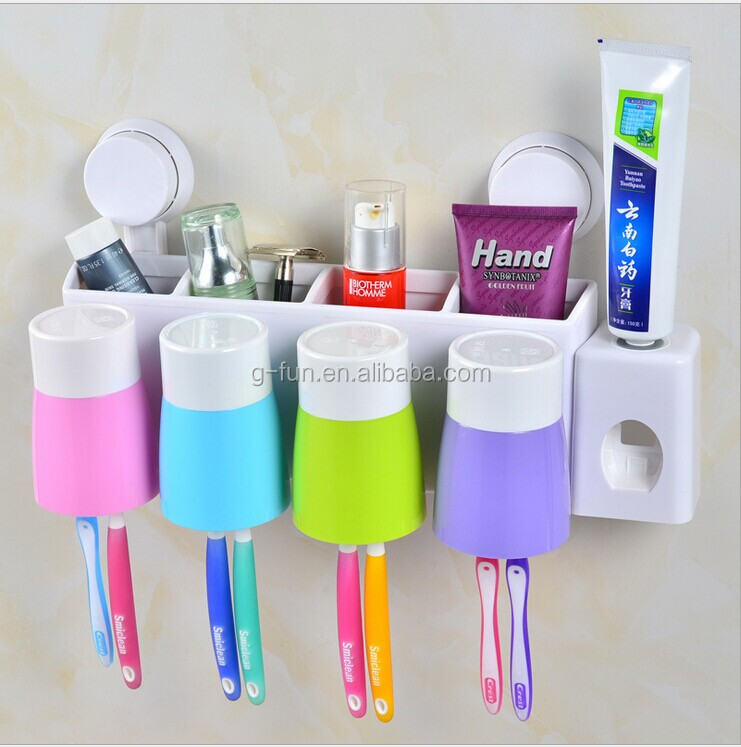 Bathroom Products Double Sucker Wash Toothbrush Holder Sets Automatic Toothpaste Dispenser With Cups Creative Household Cups Set