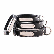 Eco-Friendly leather dog collar, dog collar leather with name tag, steel name tag dog collar