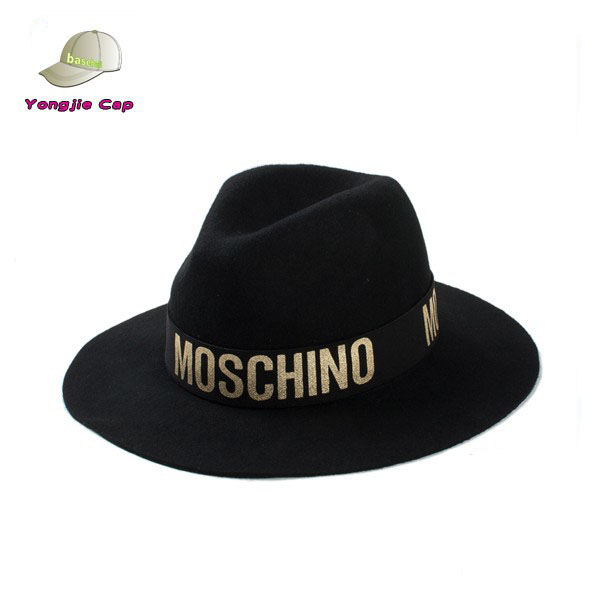 Fashion Men's Stylish 100% Wool Felt Wide Brim Fedora Printed Band Black Hat