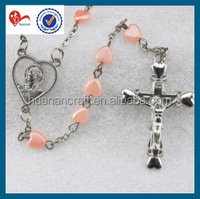 Fashion pink heart acrylic religious beads rosary 40