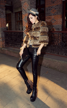 Leather pants female trousers skinny ladies pants outer wear casual women pants