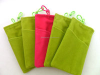 custom colorful promotional velvet mobile bag with bead