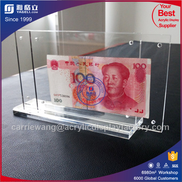 Factory clear T shaped Acrylic Currency Display Block/Banknote Holder