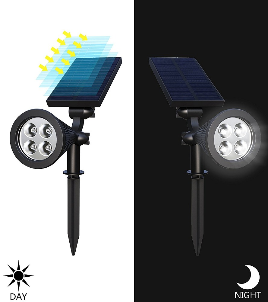 4-LED Solar Landscape Lights 180 Adjustable Waterproof Outdoor Security Lighting 2-in-1 Wall Lights