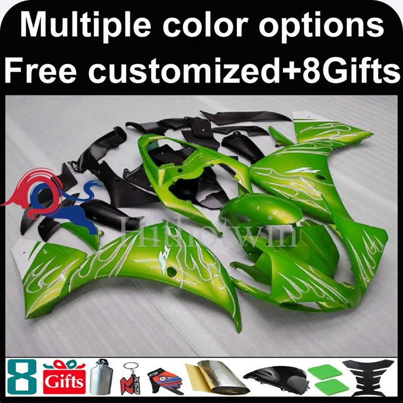green Body motorcycle cowl for Yamaha YZF-<strong>R1</strong> 2009-<strong>2011</strong> 09 10 11 YZFR1 2009 2010 <strong>2011</strong> ABS Plastic Fairing