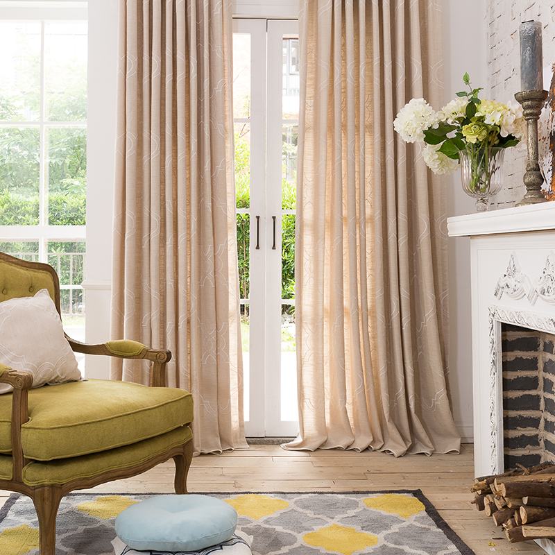 resdy made woven design linen fabric curtain for bedroom