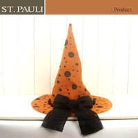 halloween home tabletop decor black polka dot pattern 14inch orange burlap bowknot witch hat decoration
