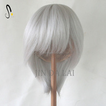 Short style light grey hair wigs for doll girls white Synthetic wigs