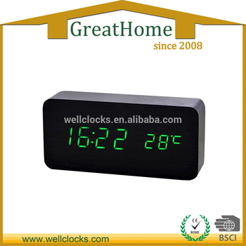 Wooden Desk Alarm Clock WithTemperature, Stand Clock