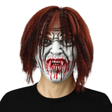 Adult Size Rubber Latex Scary Halloween Vampire Full Head Mask Bloody Rubber Mask with Wigs