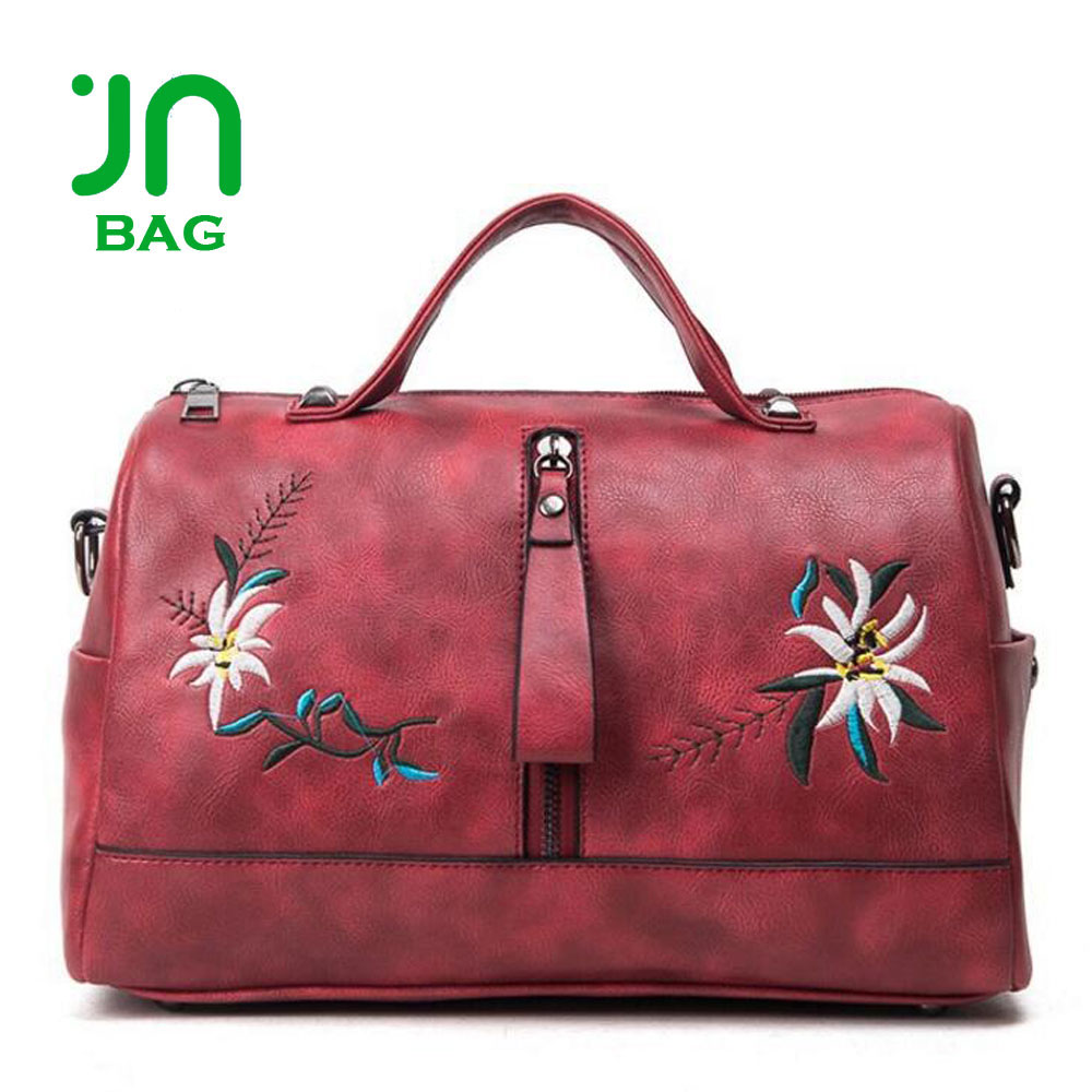 JIANUO Tote leather purses handbags in embroidery logo leather land handbags