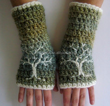 W-268 women knitted embroidered fingerless mitten for arm warmers