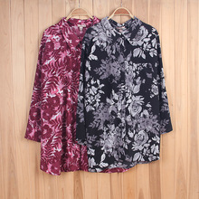 Stock Lot Quick Dry Breathable Floral Long Sleeve Blouse Pattern Lady Shirt Women