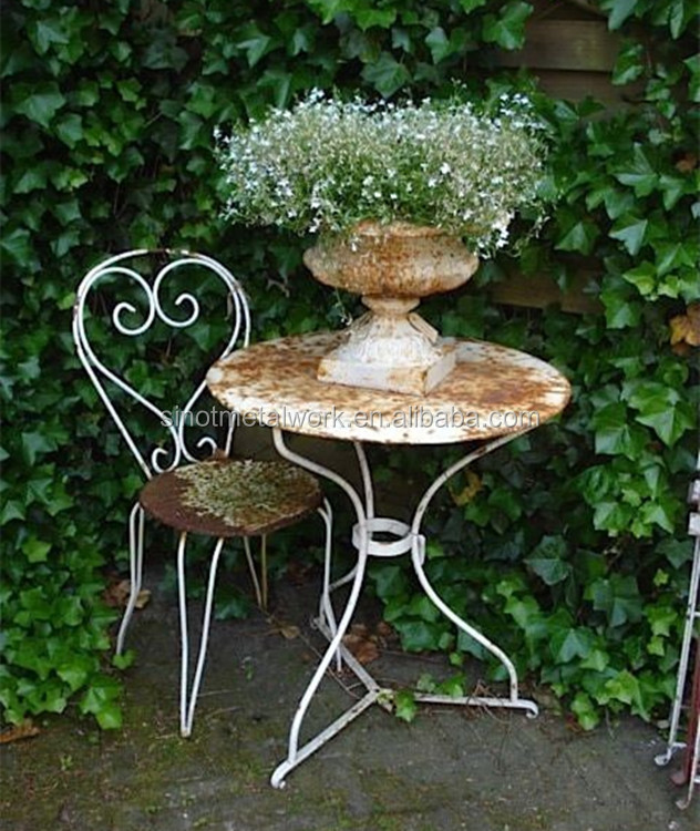 2017 garden and home furniture metal iron hammered tea or coffee table and chair for sale