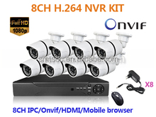 HD 8CH 1080P Onvif NVR Kit 2MP P2P Array IR Waterproof Wired CCTV IP Security Cameras System (NVR-KIT108/1080P)