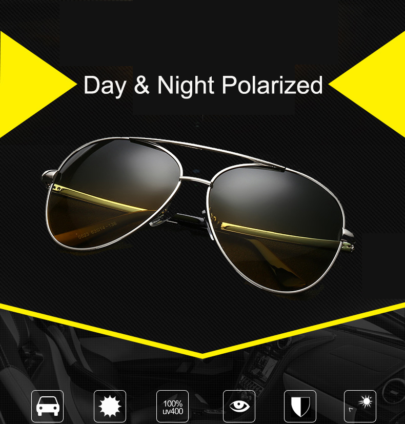 2018 New Brand Day & Night vision Multifunction Men's Polarized Goggles Driving Glasses Reduce Glare Sunglasses CC0113