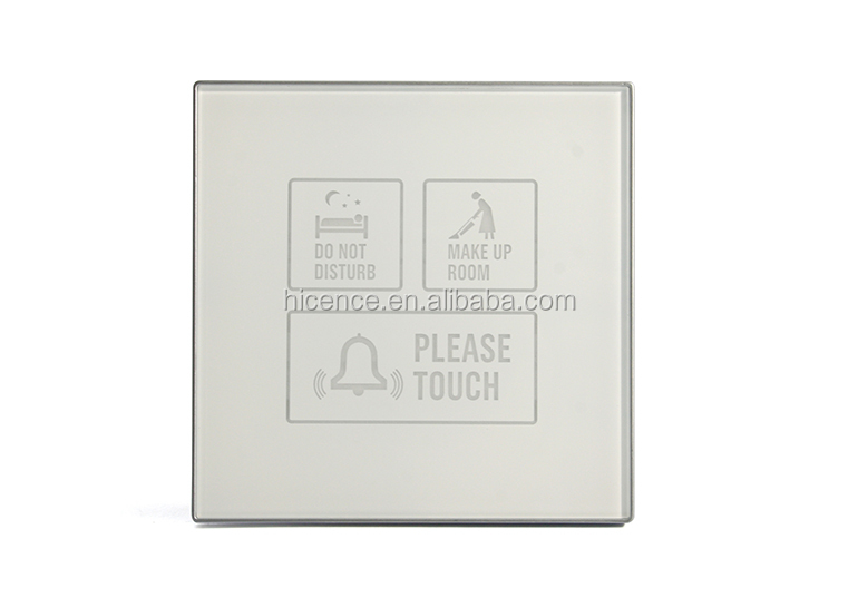 White Crystal Glass Electronic Touch Switch Hotel Control Doorbell System