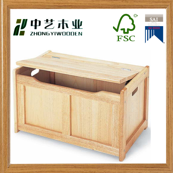 Wholesale handmade wooden toys chest personalised solid wood toy box for kids