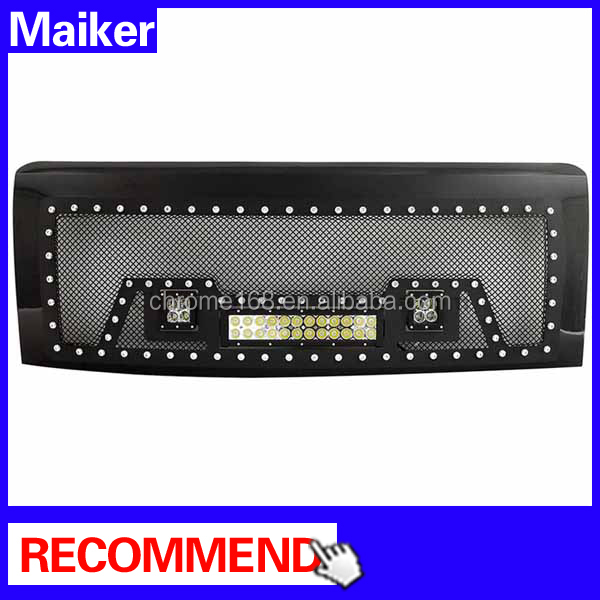 09-14 Stainless Steel Wire Mesh Packaged Grille with LED light f150 front grill for f 150 ford pick up accessories