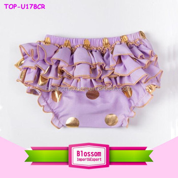 Purple Soft and gold dot ruffle kids wear wholesale baby bloomers stylish baby girl's bloomers