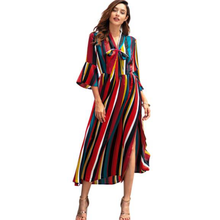 N1C3082  New sleeved woman dress rainbow long dress striped split midi casual dresses