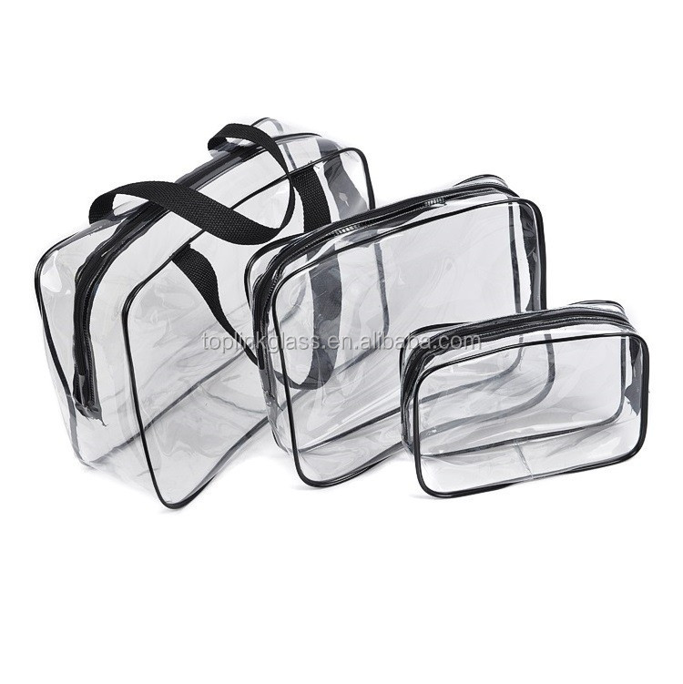 OEM custom clear vinyl PVC quilt zipper packaging bag with rope handles