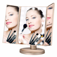 Touch Screen LED Table Makeup Mirror with USB Cable,2X and 3X Magnification
