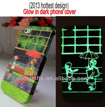 2014 silicone mobile phone case for glow in dark printing