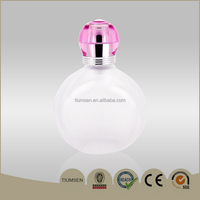 60ml frosted glass perfume bottle with pink acrylic cap