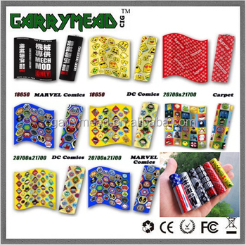 Custom design shrink PVC 18650 battery wrap label stickers colorful 20700 battery wraps ecig battery wraps 18650 21700 Battery