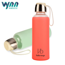 Premium 550ML glass and silicone water bottle fruit infusion infuser