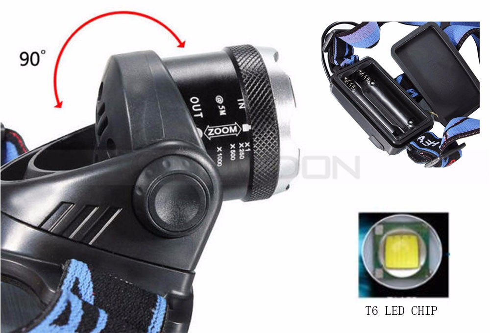 High Power LED Headlight Torch 2000Lm XM-L T6 Running Rechargeable Headlamp Head Light Lamp
