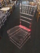 Transprarent crystal plastic clear wedding tiffiny chair with LED light chiavari chair/Stacking Tiffany Wedding Chair