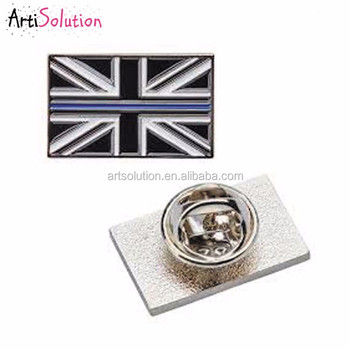 Cheap Price Metal Custom Soft Enamel Union Jack GB Flag Blue Line Lapel Pin