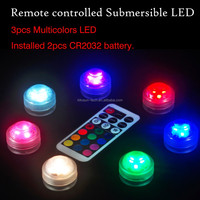 rgb mini led lights Mother's day celebraion mini 3 pcs led submersible light with remote controler