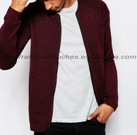 OEM service merino wool mix man knitted bomber jacket