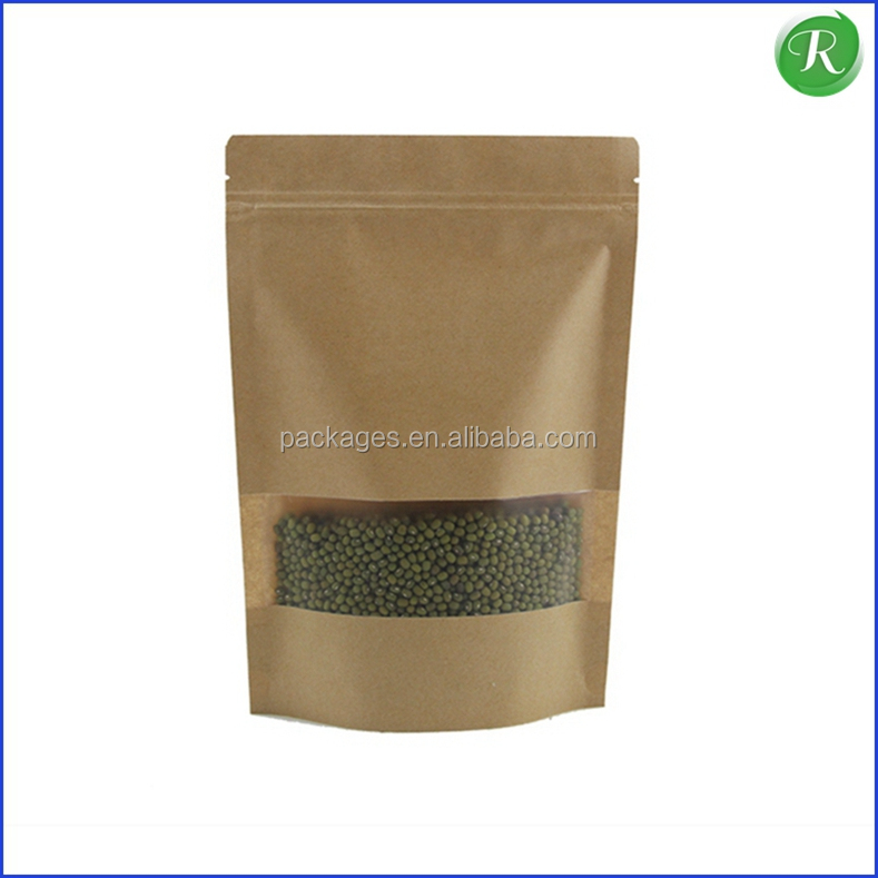 custom printed resealable kraft paper bag wholesale for dried food packaging