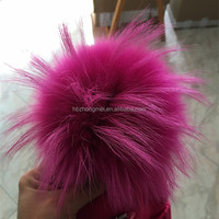 Baby Pink Color Baby Hat Acceossory Sex Women Girl Raccoon Fur Ball Wholesale Fluffy Fur Pom Poms