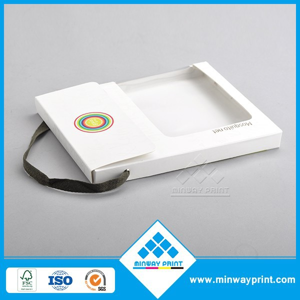Fashion and unique design paper box or paper bag with clearly PVC window on the front and a hang handle satin ribbon handle,