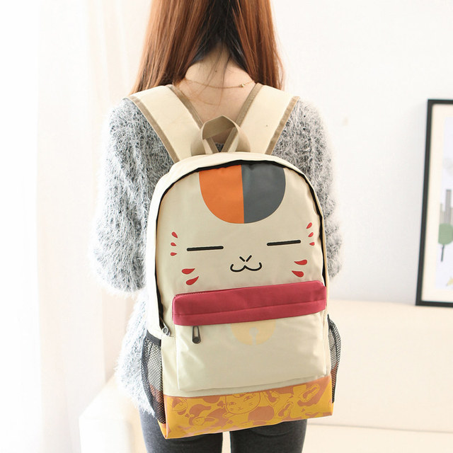 Japanese Girl Cute Face Print Pu Schoolbag Beige Plush Cat  Canvas Backpack Women Student School Leisure Cartoon Book Laptop Bag