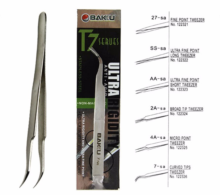 BK T7 7-SA stainless steel Curved non-magnetic and Anti-Acid stamp tweezers for mobile repair tools