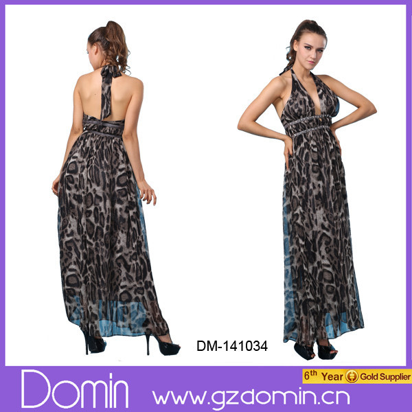 Factory Price Halter Design Superior Quality Elegant Pakistani Maxi Dress