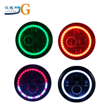 "7"" Round Multicolor RGB DRL Bluetooth Remote Control RGB LED Jeep Headlights for jeep jk AAL-0145RGB"