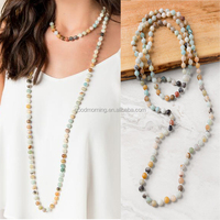 Semi-precious Luxe Collection Stone Beads Knotted Long Double Wrap Necklace