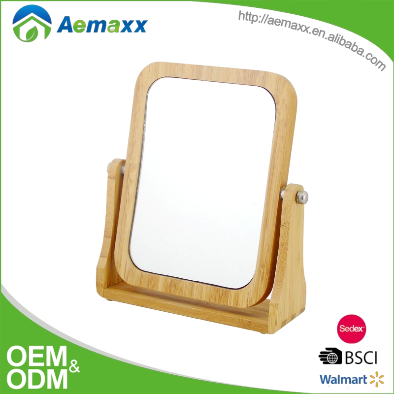 BBM-50076 square good quality standing bamboo framed mirror