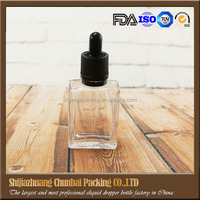 clear square 30 ml glass dropper bottles with tamper evident cap hot sale glass dropper bottle made in China clear dropper s