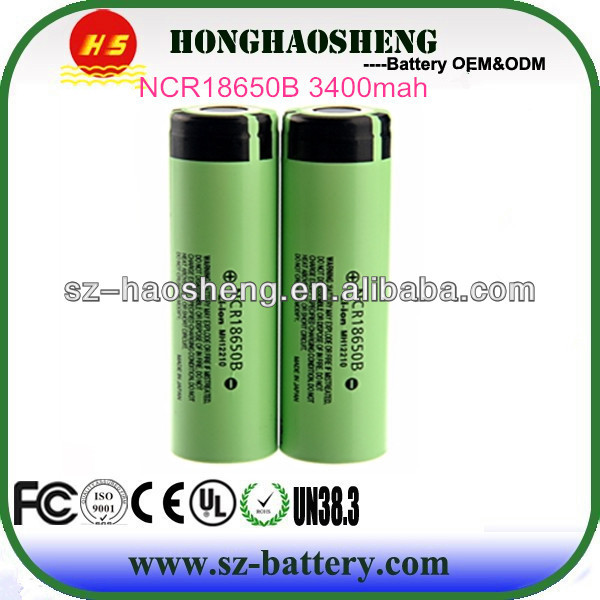Highest capacity rechargeable lithium ion 18650 3400mah battery for panasonic ncr18650a
