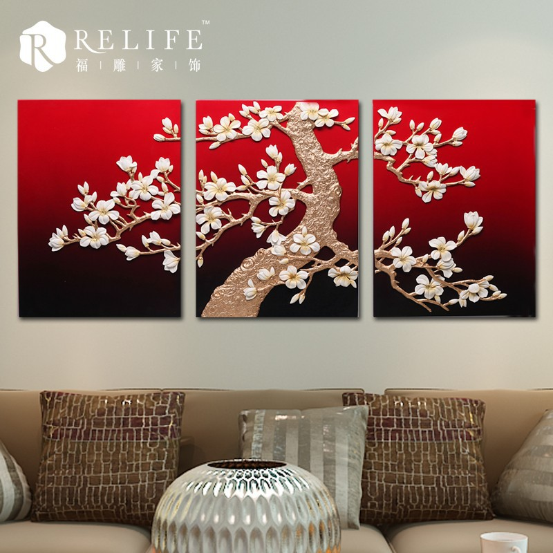 3d relief village scenery oil painting, flower painting, glass painting flower designs