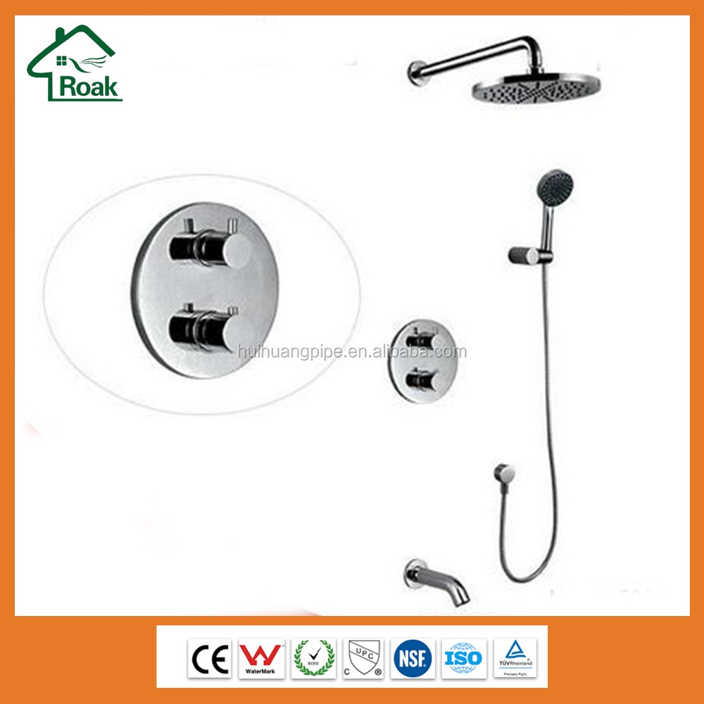Wall mounted thermostatic brass rain shower mixer UPC shower faucet